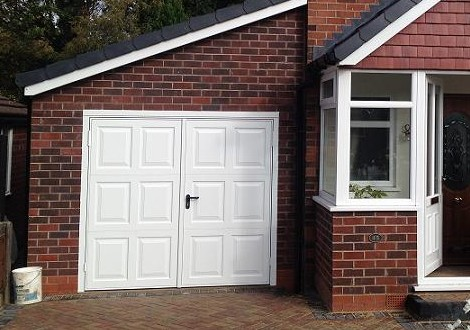 Georgian style side hinged garage doors